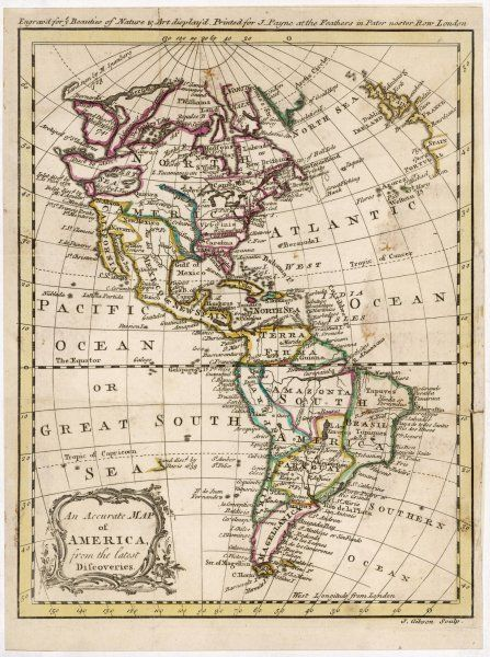 Map of North and South America
