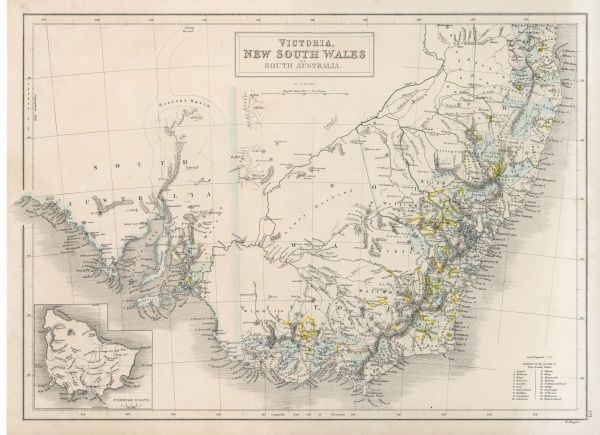 MAPS/AUSTRALIA 1854. VICTORIA, NEW SOUTH WALES, SOUTH AUSTRALIA
