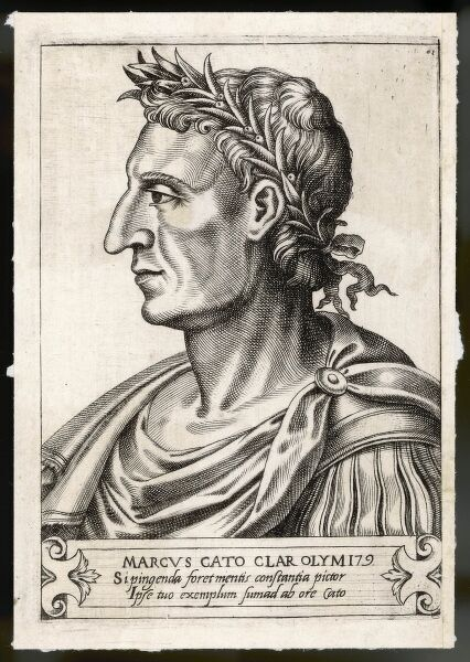MARCUS PORCIUS CATO (234-149 BC), Roman statesman, known as Censorius (the Censor), Sapiens (the Wise), Priscus (the Ancient), or Maior (the Elder)
