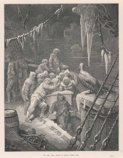 The frozen crew are joined by an albatross which sits on the ship