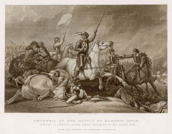 Battle of MARSTON MOOR Cromwell, though wounded, leads the charge, resulting in a total victory for the Parliament forces