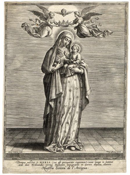 Mary /Galleus. Depicted showing the infant Jesus a single rose