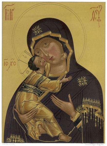 MARY & JESUS (C14). Medieval depiction of Mary and baby Jesus