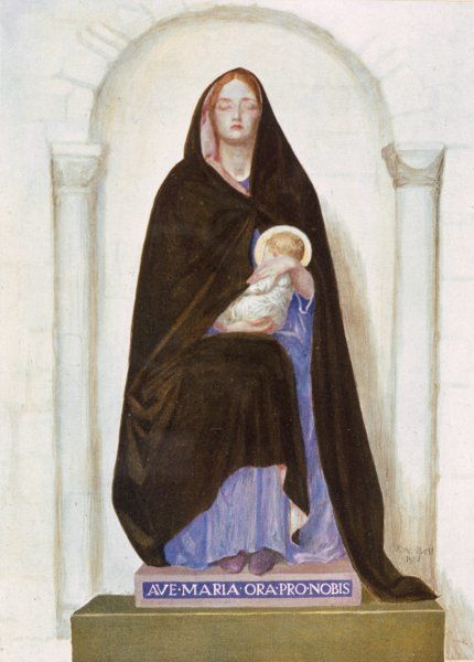 Virgin mother of Jesus ; depicted as a young mother