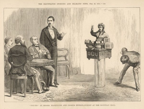Maskelyne & Cook's thought-reading, whist playing automaton, Psycho, as demonstrated at the Egyptian Hall in Piccadilly, London