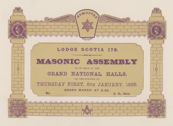 Ticket for a Freemason's assembly in Glasgow