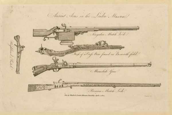 Various firearms -- a Matchlock Crossbow (from Bosworth), a Mameluke gun, a Persian matchlock and a Highland pistol