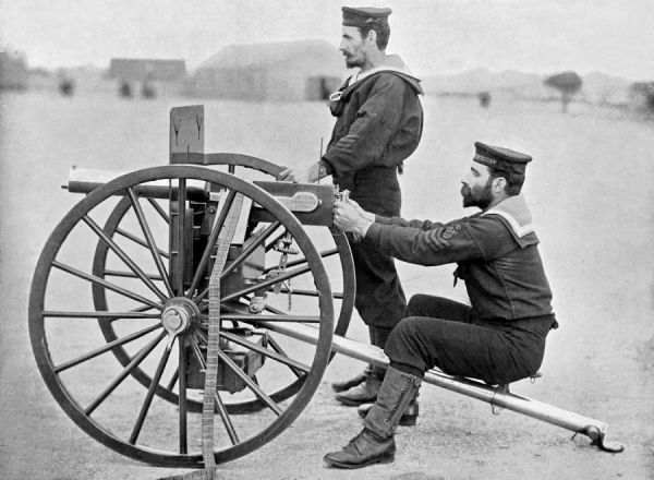 THE MAXIM GUN used by Petty Officers of the Royal Navy's HMS 'Excellent'