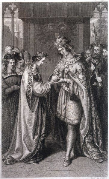 Marriage of MAXIMILIAN I and MARIA OF BURGUNDY: he places a ring on her finger