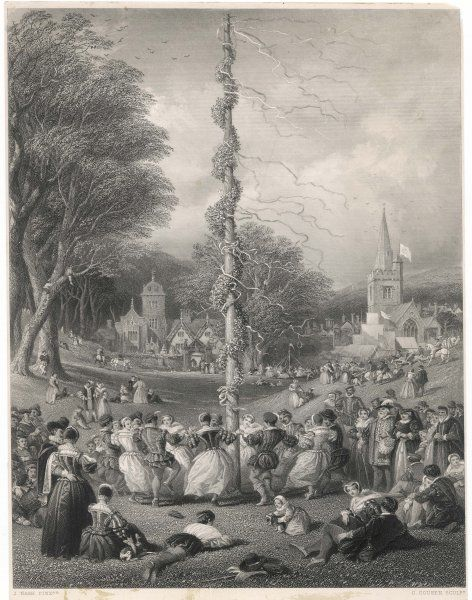 MAYPOLE (NASH). Dancing round the maypole on the village green, in Elizabethan times