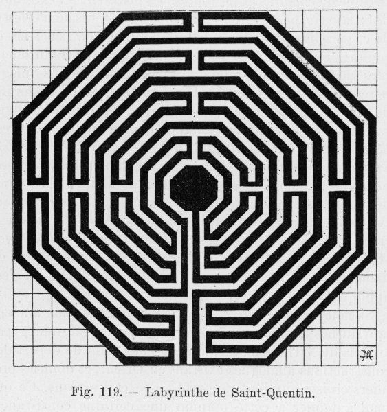 MAZE AT ST QUENTIN. Octagonal maze in the cathedral of Saint-Quentin, France