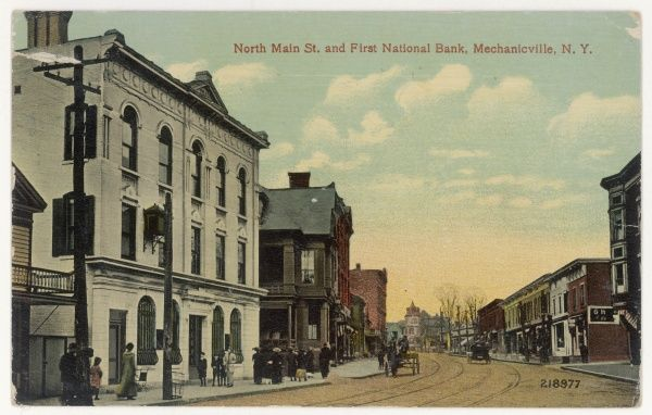 North Main Street, featuring the First National Bank, in Mechanicsville, Saratoga County, New York State, USA