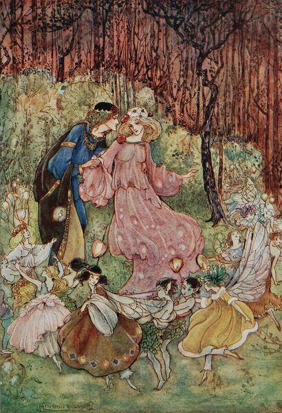 A medieval couple with fairies, from 'My Fairyland'.     20th century