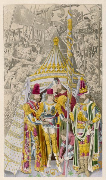 The medieval ceremony of knighthood, represented in an illustration of the Trojan War depicting the knighting of Pyrrhus of Epirus