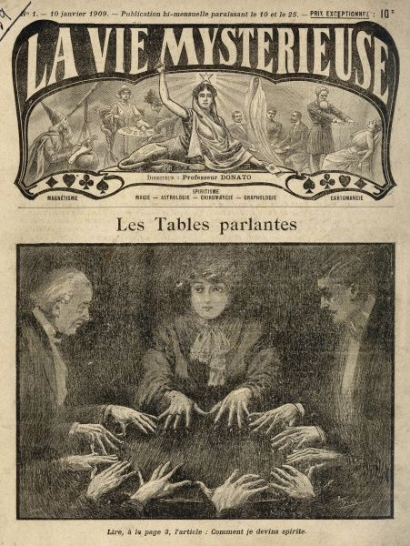 MEDIUMSHIP/SEANCE. Raphael N'Hutter attends a seance with an unnamed French medium