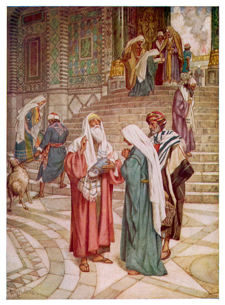 Joseph and Mary go to Jerusalem to be purified, and show the baby Jesus to Simeon, who exclaims 'Now lettest thou thy servant depart in peace !'
