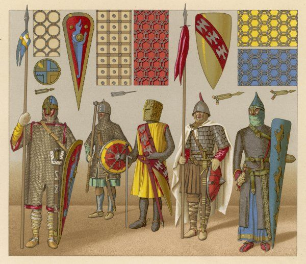 MEN IN ARMOUR. Men in armour, shields, banners ; with details of chain-mail