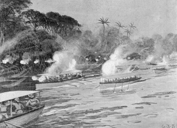 The Mendi Expedition. Boats bombarding enemy positions