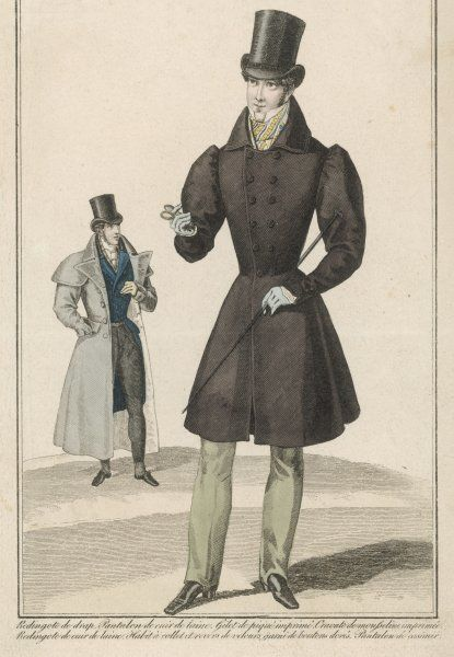 Grey overcoat with cape & hip pockets. Brown D-B frock coat with gigot sleeves, shirt with stand collar & pointed cuffs, patterned cravat, top hat, cane & strapped pantaloons
