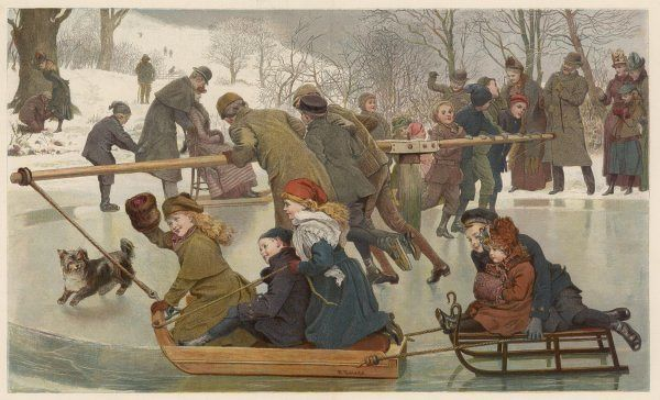 A merry-go-round on the ice - towing children on toboggans. Date: 1890