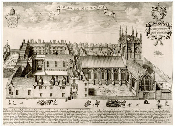 MERTON COLLEGE 1675. Aerial view of Merton College, Oxford University