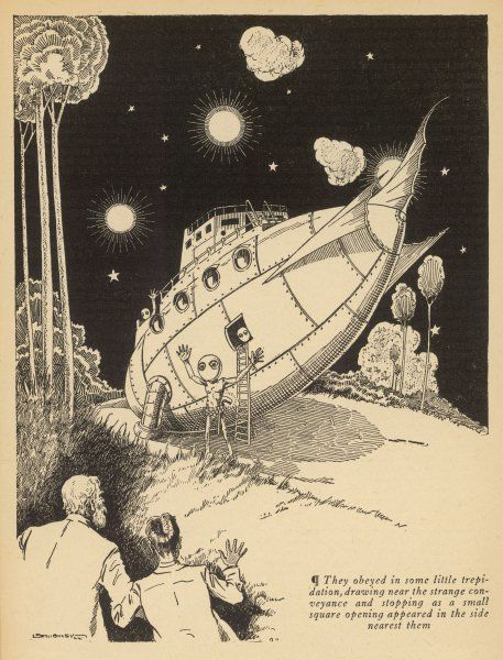 'MICROCOSMIC BUCCANEERS' (Harl Vincent) Two Earthmen watch the landing of an alien spacecraft - the occupants seem well-meaning enough, giving a friendly wave