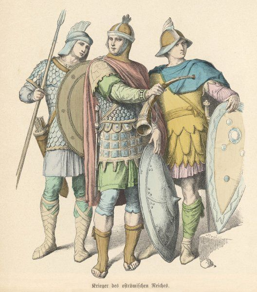 An officer and two of his men from the Eastern Roman Empire