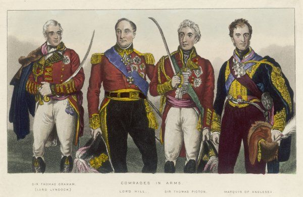 From L to R : - Sir Thomas Graham (Lord Lynedoch) - Lord Hill - Sir Thomas Picton - Marquis of Anglesey