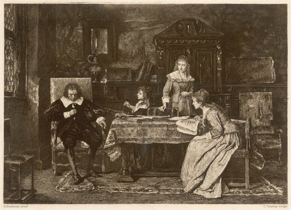 JOHN MILTON, blind in old age, dictates 'Paradise Lost' to his three daughters