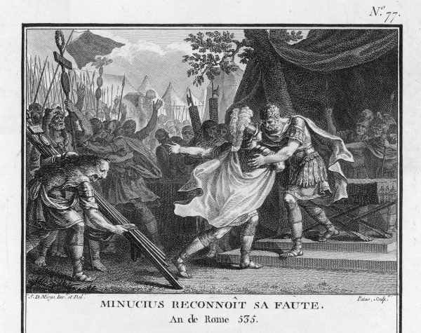 PUNIC WARS : after gaining victory at the Battle of Geronium (or Gerunium) against the Carthaginians during the Second Punic War, Marcus Minucius Rufus admits disobeying the orders of Quintus Fabius Maximus, but the latter does not punish him