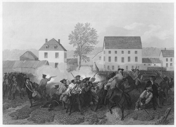At Lexington, Massachusetts, minutemen resist the British marching to seize stores at Concord. This battle was the opening of the War of Independence