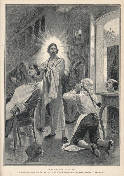 JASMIN, barber-poet of Agen, in Provence, is visited by Jesus who cuts off the heads of his customers then replaces them to show his power, thereby converting Jasmin