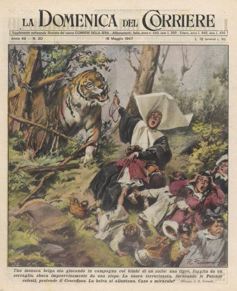 A nun is on a country outing with some children, when a tiger appears, escaped from a zoo : she holds up her crucifix to it, whereupon it slinks away