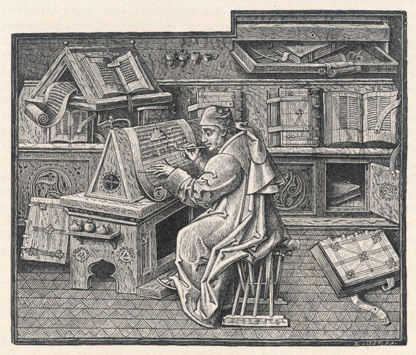 John Mielot, author of 'Miracles de Notre Dame' using a quill and a scraping knife in a monestary library
