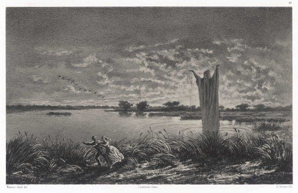 THE MONK OF THE MARSHES a huge and sinister figure seen by countryfolk who pass ponds in Berry, central France, at night Date: 1858