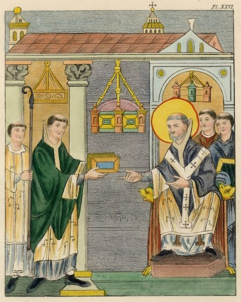 ELFNOTH Abbot. Presenting a book of prayer to the Monastery of St. Augustin