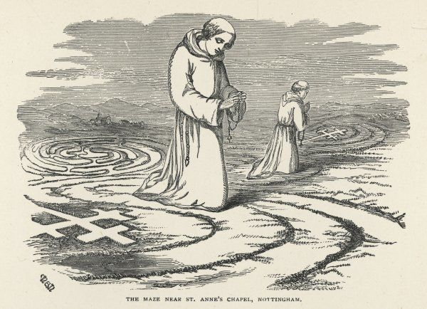 Monks walk the maze, telling their beads, near Saint Anne's Chapel, Nottingham