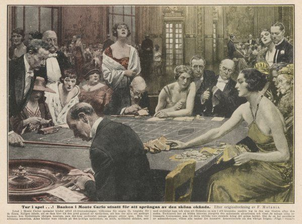 Gamblers at the tables - a winner, and the losers