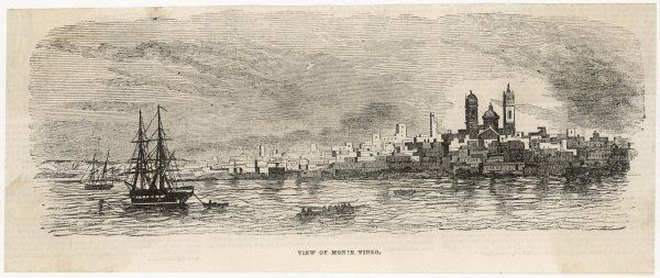 MONTEVIDEO, 1843. View of Montevideo from the sea