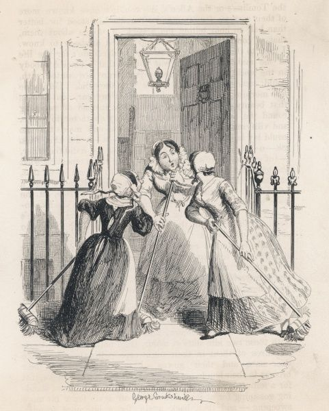 'The Morning Gossip' a housemaid exchanges news with her neighbours as she sweeps the front steps