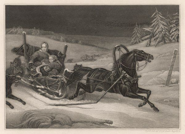 A mother and her children, returning home through the snow in a sleigh, are frightened by wolves pursuing them