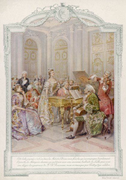 Music making in an aristocratic home, with violin, cello, spinet and singer