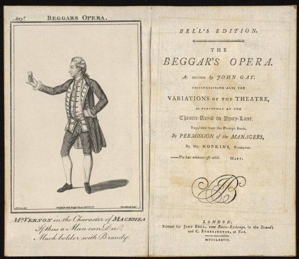 MUSIC/OPERA/GAY. 'THE BEGGAR'S OPERA' by John Gay - Mr Vernon in the character of Macheath