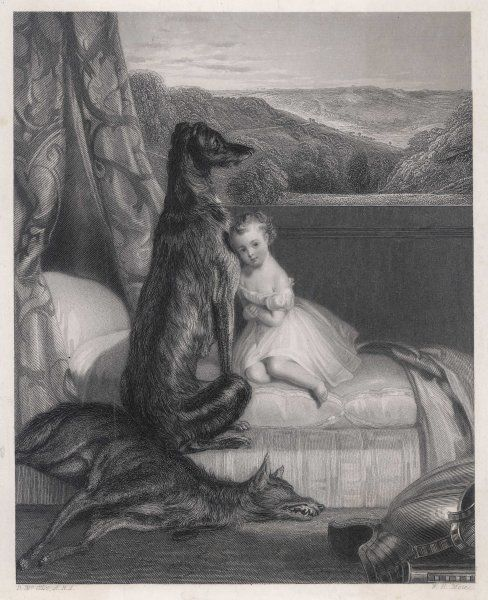 Gelert, the dog of Prince Llywelyn, kills a wolf which menaces L's son, but is slain when L finds Gelert dripping with blood and his son apparently missing