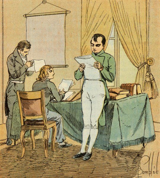 Napoleon I (1769 - 1821) reading documents and checking the day's military dispatches
