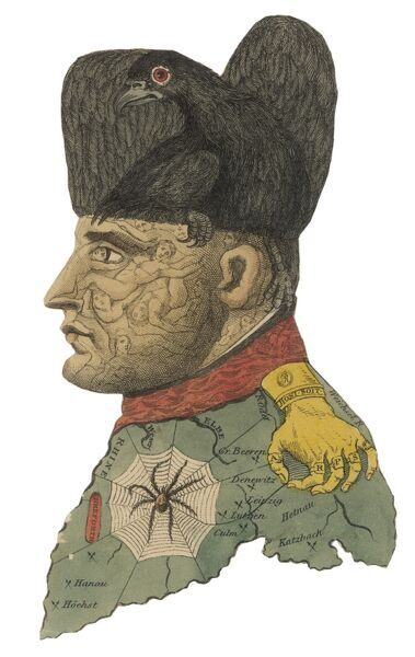 NAPOLEON I A fantasy portrait where he is made up from a black bird, a golden hand, a spider in its web, figures and a map