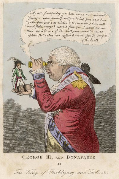 NAPOLEON I Cartoon of Napoleon I with George III in a Lilliputian context