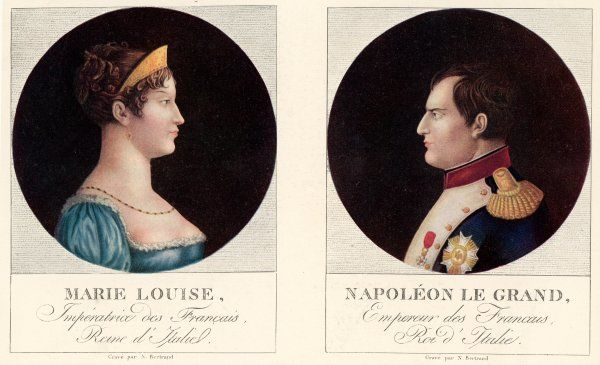 NAPOLEON I Oval portrait of Napoleon and his second wife, Marie Lousie who he married in 1810