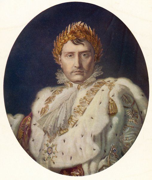 NAPOLEON I Oval portrait of Napoleon in his coronation robes in 1804