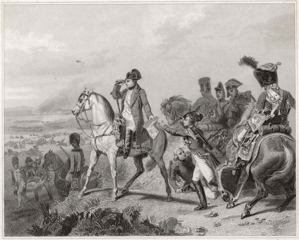 BATTLE OF WAGRAM Napoleon watches his men defeat the Austrians, using an eyeglass